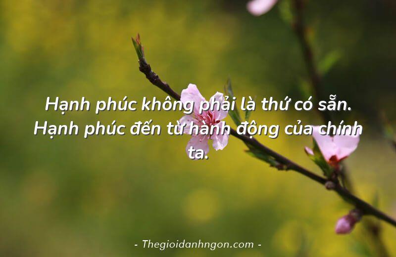 hanh phuc khong phai la thu co san hanh phuc den tu hanh dong cua chinh ta - Chào mừng bạn đến với Thế giới danh ngôn